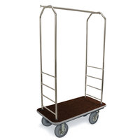 CSL 2099GY-020 Stainless Steel Finish Bellman's Cart with Rectangular Brown Carpet Base, Gray Bumper, Clothing Rail, and 8 inch Gray Pneumatic Casters - 43 inch x 23 inch x 72 1/2 inch