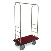 CSL 2099BK-040 Stainless Steel Finish Bellman's Cart with Rectangular Red Carpet Base, Black Bumper, Clothing Rail, and 5 inch Gray Polyurethane Casters - 43 inch x 23 inch x 72 1/2 inch