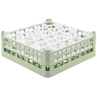 Vollrath 52817 Signature Lemon Drop Full-Size Light Green 30-Compartment 6 1/4 inch Tall Plus Glass Rack