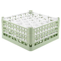 Vollrath 52845 Signature Lemon Drop Full-Size Light Green 30-Compartment 8 1/2 inch XX-Tall Glass Rack