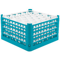 Vollrath 52847 Signature Lemon Drop Full-Size Light Blue 30-Compartment 9 15/16 inch XXX-Tall Glass Rack