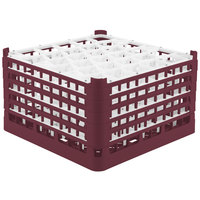 Vollrath 52847 Signature Lemon Drop Full-Size Burgundy 30-Compartment 9 15/16 inch XXX-Tall Glass Rack