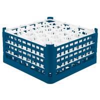 Vollrath 52846 Signature Lemon Drop Full-Size Royal Blue 30-Compartment 9 1/16 inch XX-Tall Plus Glass Rack