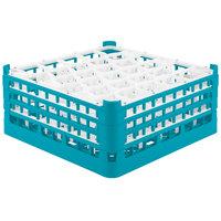 Vollrath 52844 Signature Lemon Drop Full-Size Light Blue 30-Compartment 7 11/16 inch X-Tall Plus Glass Rack
