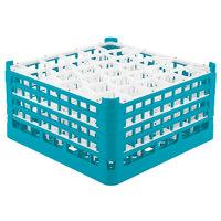 Vollrath 52845 Signature Lemon Drop Full-Size Light Blue 30-Compartment 8 1/2 inch XX-Tall Glass Rack
