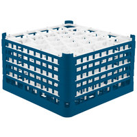 Vollrath 52847 Signature Lemon Drop Full-Size Royal Blue 30-Compartment 9 15/16 inch XXX-Tall Glass Rack