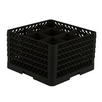 Vollrath TR10FFFFA Traex Full-Size Black 9-Compartment 11 inch Glass Rack with Open Rack Extender On Top