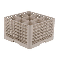 Vollrath TR10FFFFA Traex® Full-Size Beige 9-Compartment 11 inch Glass Rack with Open Rack Extender On Top