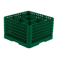 Vollrath TR10FFFFA Traex® Full-Size Green 9-Compartment 11 inch Glass Rack with Open Rack Extender On Top