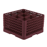 Vollrath TR10FFFFA Traex® Full-Size Burgundy 9-Compartment 11 inch Glass Rack with Open Rack Extender On Top