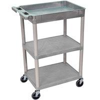 Luxor / H. Wilson STC122-G Gray Three Shelf Utility Cart - 1 Tub Shelf, 24 inch x 18 inch x 36 1/2 inch