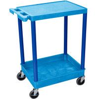 Luxor BUSTC21BU Blue Two Shelf Utility Cart