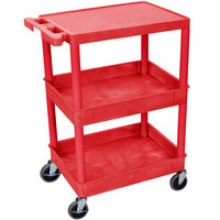 Luxor RDSTC211RD Red Three Shelf Utility Cart