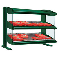 Hatco HXMH-24D Hunter Green LED 24 inch Horizontal Double Shelf Merchandiser - 120V