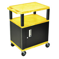 Luxor / H. Wilson WT34YC2E-B Yellow Tuffy Two Shelf A/V Cart with Locking Cabinet - 24 inch x 18 inch x 34 inch