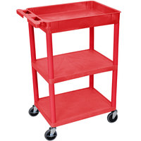 Luxor / H. Wilson RDSTC122RD Red Three Shelf Utility Cart