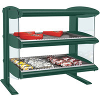 Hatco HXMH-30D Hunter Green LED 30 inch Horizontal Double Shelf Merchandiser - 120/240V