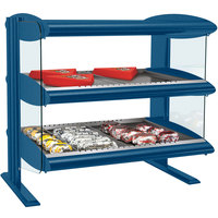 Hatco HXMH-30D Navy Blue LED 30 inch Horizontal Double Shelf Merchandiser - 120/240V