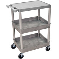 Luxor STC211-G Gray Three Shelf Utility Cart