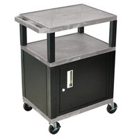 Luxor WT34GYC2E-B Gray Tuffy Two Shelf A/V Cart with Locking Cabinet - 24 inch x 18 inch x 34 inch