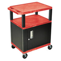 Luxor / H. Wilson WT34RC2E-B Red Tuffy Two Shelf A/V Cart with Locking Cabinet - 24 inch x 18 inch x 34 inch