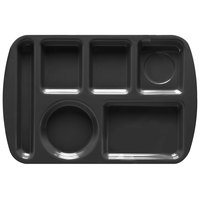 GET TL-151 Black Melamine 9 1/2 inch x 14 3/4 inch Left Hand 6 Compartment Tray - 12/Pack