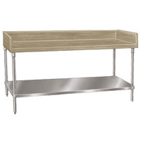 Advance Tabco BG-367 Wood Top Baker's Table with Galvanized Undershelf - 36 inch x 84 inch