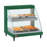 Hatco GRCDH-2PD Green 33 inch Glo-Ray Full Service Double Shelf Merchandiser with Humidity Controls - 1210W