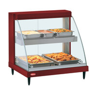 Hatco GRCDH-2PD Red 33 inch Glo-Ray Full Service Double Shelf Merchandiser with Humidity Controls - 1210W