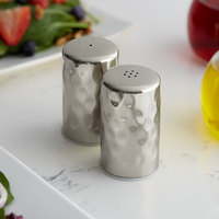 American Metalcraft HMSP2 2 oz. Hammered Finish Stainless Steel Salt & Pepper Shaker Set