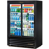 True GDM-33CPT-LD Black Sliding Door Narrow Depth Convenience Store Glass Door Merchandiser Refrigerator - Pass-Through