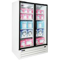 Master Bilt BLG-48-HGP Two Section Swing Glass Door White Merchandiser Freezer - 45.7 Cu. Ft.