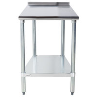 Advance Tabco FLAG-242-X 24 inch x 24 inch 16 Gauge Stainless Steel Work Table with 1 1/2 inch Backsplash and Galvanized Undershelf