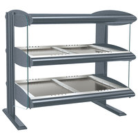 Hatco HZMH-48D Gray Granite 48 inch Horizontal Double Shelf Heated Zone Merchandiser - 120/208V