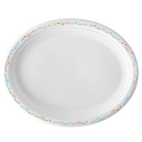 Huhtamaki Chinet 22525 10 inch x 12 inch Molded Fiber Oval Platter with Vines Design - 125/Pack