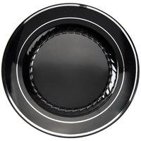 "Fineline Silver Splendor 507-BKS 7"" Black Plastic Plate with Silver Bands - 15/Pack"