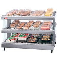 Hatco GR3SDS-27D Gray Granite Glo-Ray 27 inch Slanted Double Shelf Heated Glass Merchandising Warmer - 120V