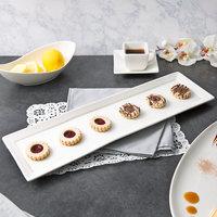 10 Strawberry Street WTR-20-6REC Whittier 20 inch x 6 inch White Rectangular Porcelain Platter - 12/Case