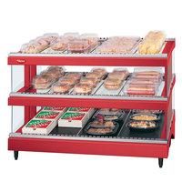 Hatco GR3SDS-33D Warm Red Glo-Ray 33 inch Slanted Double Shelf Heated Glass Merchandising Warmer