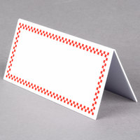 Rectangular Write On Deli Tent Sign with Red Checkered Border