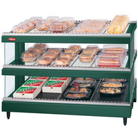 Hatco GR3SDS-39D Hunter Green Glo-Ray 39 inch Slated Double Shelf Heated Glass Merchandising Warmer - 120/240V