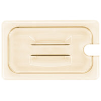 Cambro 40HPCHN150 H-Pan 1/4 Size Amber High Heat Handled Flat Lid with Spoon Notch