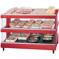 Hatco GR3SDS-39D Warm Red Glo-Ray 39 inch Slated Double Shelf Heated Glass Merchandising Warmer - 120/208V