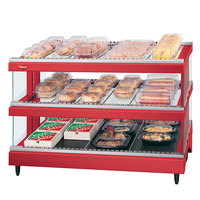 Hatco GR3SDS-33D Warm Red Glo-Ray 33 inch Slanted Double Shelf Heated Glass Merchandising Warmer - 120/208V