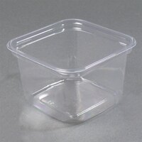 D&W Fine Pack SQ16WN 16 oz. Square PLA Biodegradable / Compostable Plastic Clear Corn Deli Container 500/Case
