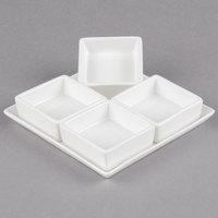 10 Strawberry Street WTR-SQ4PKT Whittier 6 inch White Porcelain 4-Pocket Sauce Dish - 24/Case
