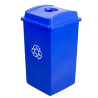 Continental Swingline 25 Gallon Blue Square Recycling Trash Can and Lid with Hole Set