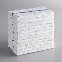 Choice 16 inch x 19 inch Blue Striped 32 oz. 100% Cotton Bar Towel - 12/Pack