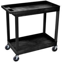 Luxor EC11-B Black Two Tub Shelf Utility Cart - 18 inch x 35 1/4 inch x 34 1/4 inch