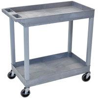 Luxor EC11-G Gray Two Tub Shelf Utility Cart - 18 inch x 35 1/4 inch x 34 1/4 inch
